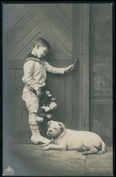 Child boy with English Bulldog Dog door keeper original old 1910s photo postcard