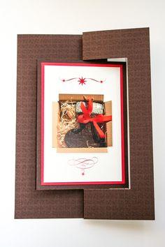 Weihnachtskarte als Twistcard, zum Drehen Braun, Rot, Creme, Lebkuchen, Stiefel ©passion4paper