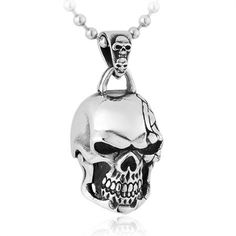 Vintage Punk Big Skull Head Titanium Pendant For Men