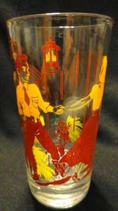 """vintage square dance glass (from a set of """"american dances"""")"""