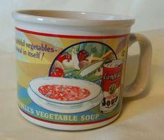 Vintage-Campbells-Vegetable-Soup-Mug-1993-Westwood-1925-Ad-Used
