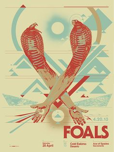 Foals Screenprinted poster for Foals' 2013 concert at Ace of Spades in Sacramento, California. Designed by Jason Malmberg as Decabet. Tour Posters, Band Posters, Music Posters, Music Artwork, Expressive Art, Typography Art, Concert Posters, Graphic Design Inspiration, Vintage Posters