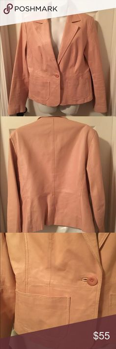 💕 New York & Co Supple Leather Blazer Jacket Pink 😊 MAKE OFFER 😊  New York & Company Supple Genuine Leather Blazer Jacket Coat Soft Pink  Adorable soft pink leather blazer from New York & Company. Single button closure. Two front functional pockets. Sweet logo'd lining. Excellent, like new condition. Size 14. New York & Company Jackets & Coats Blazers