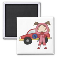 Stick  Figure Girl Race Car Driver Tshirts Magnets