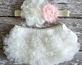 READY TO SHIP Baby Girl TuTu Bloomers Ruffle Diaper Cover Ivory Pink Flower Headband Set Newborn Photography Prop 0 3 6 9 12 18 months