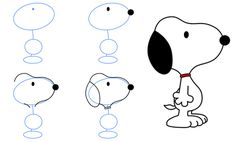 How to draw Snoopy Doodle Drawings, Cartoon Drawings, Doodle Art, Easy Drawings, Animal Drawings, Drawing Lessons, Drawing Techniques, Snoopy Drawing, Doodles