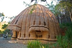 Outside of the beehive huts - a work of art. Natural Building, Outdoor Gear, Shelter, Gazebo, Tent, Waterfall, Yard, The Incredibles, Outdoor Structures