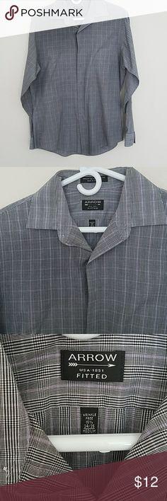 Plaid dress shirt Long sleeve. Button down gray and purple Arrow Shirts Dress Shirts