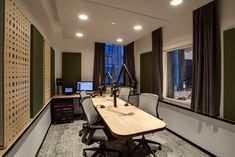 When Spotify acquired both Gimlet and Anchor in Feb. the streaming company wasn't just getting into the podcast business; it was also diving deeper into the brick-and-mortar studio business. Music Studio Room, Studio Setup, Home Studio, Menorah, Open Space Office, Spaceship Interior, Radio Design, Media Room Design, Recording Studio Design