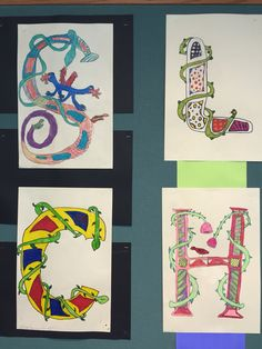 Fifth graders are introduced to the Celtic Book of Kells and illustrated letters.  Here are a few of the finished letters.