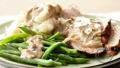 Svinefilet med soppsaus - Oppskriftskroken Pork Loin, Salmon Burgers, Potato Salad, Diabetes, Mashed Potatoes, Low Carb, Meat, Chicken, Ethnic Recipes