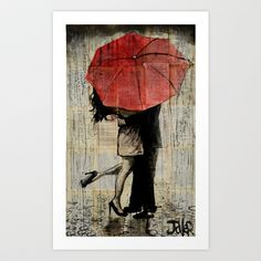 the red umbrella Art Print by LouiJoverArt - $22.88