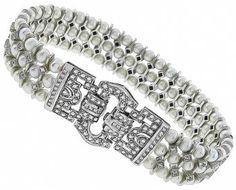 Estate 2.00ct Diamond Pearl Bracelet