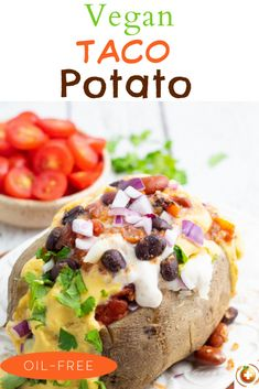 Delicious, healthy baked potatoes stuffed and seasoned with your favorite taco toppings! It's time for a fiesta with this potato taco recipe!