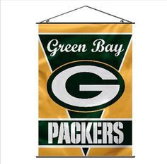 Put your pride on the wall! Support the Packers by hanging up this wall banner. The 40-inch x 28-inch indoor banner is designed with a plastic holder and string, so it is easy to hang up. This officially licensed banner is brightly decorated in the team colors and logo.