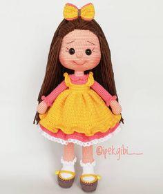 JULIA Crochet Toy / Amigurumi Doll - Crochet Doll for Daughter, Gift for Children, Gift for Baby, Gi - Salvabrani - Salvabrani Crochet Shoes Pattern, Crochet Dolls Free Patterns, Crochet Pillow Pattern, Crochet Birds, Crochet Baby, Crochet Doll Dress, Stuffed Toys Patterns, Amigurumi Doll, Baby Knitting