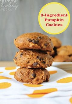 Pumpkin Cookies with only THREE ingredients! So easy to make these and are the perfect cookie to celebrate the holidays.
