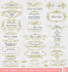 INSTAND DOWNLOAD Vintage Wedding Invitation Design Elements Digital Clipart scrapbook, tags, Label, Menu cards cpA751 Buy 1 Get 1 FREE on Etsy, ¥531.91