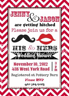 HIS and HERS  mustache and lips invitation by PrettyPartyCreations, $11.50