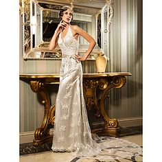 Sheath/Column Halter Court Train Lace And Stretch Satin Wedding Dress (632805) – USD $ 249.99