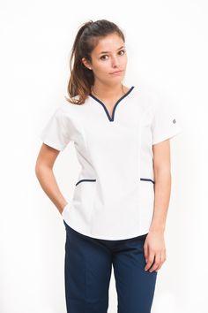 Amalia Poly BIS celeste con azul – oh! Dental Uniforms, Healthcare Uniforms, Staff Uniforms, Spa Uniform, Scrubs Uniform, Nursing Clothes, Nursing Dress, Doctor Scrubs, Stylish Scrubs