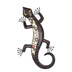 This 'Jewelled Metal Lizard Wall Art' is a wonderful home or garden accessory £13.99