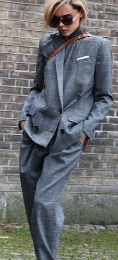 Grey Suit Outfit Idea by Style heroine- oversized grey suit and tan cross body bag- the bag completely makes this for me! Fashion- street style