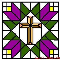 Akitas and Other Furry Friends: Stained Glass Cross Quilt patterns Quilt Square Patterns, Barn Quilt Patterns, Cross Patterns, Square Quilt, Barn Quilt Designs, Quilting Designs, Star Quilts, Quilt Blocks, Scrappy Quilts