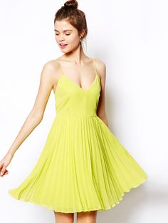 Neon Yellow Spaghetti Strap Backless Pleated Dress - Fashion Clothing, Latest Street Fashion At Abaday.com