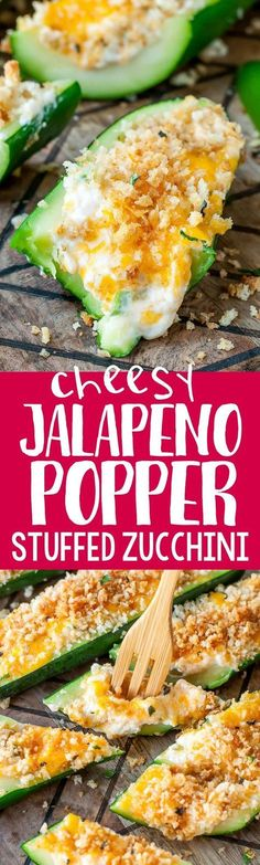 Jalapeño Popper Stuffed Zucchini Boats Jalapeño Poppers + Zucchini Boats = OMG YES! These easy cheesy Jalapeño…Jalapeño Poppers + Zucchini Boats = OMG YES! These easy cheesy Jalapeño… Veggie Dishes, Vegetable Recipes, Vegetarian Recipes, Cooking Recipes, Healthy Recipes, Side Dishes, Keto Recipes, Veggie Snacks, Vegetarian Lifestyle