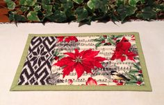 Christmas Quilted Mug Rug - Sheet Music Flowers and Birds Snack Mat Quiltsy Handmade by PattiesPieces on Etsy