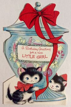 Two Adorable Kittens Apothecary Candy Jar Red Bow Vintage Birthday Greeting Card