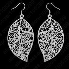 """Classic Jewelry Best Genuine 925 Sterling Silver Jewelry Sets leaves Earring Hook And Leaf Pendant Necklaces+18"""" Singapore Chain"""