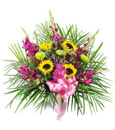 Bright yellow sunflowers and purple gladiolus steal the show in this  effervescent tribute, perfect to memorialize the life of your loved one.  Featuring sunflowers, purple gladiolus, fuji mums, and more, this  arrangement is appropriate to send to the funeral home or service.
