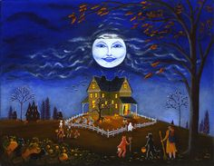 """Halloween Art Print Titled """" Candy Time """""""