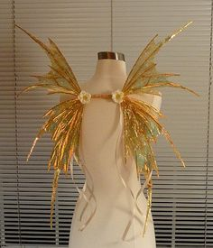 Golden Fairy Wings with Floral CircletMade to Order by chloe6788, $160.00