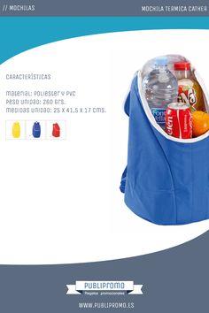 Mochilas nevera térmicas portátiles modelo Cather, disponibles en tres colores. Ideales para llevar de viaje o excursión. Encuentra esta mochila personalizada y otras muchas en Publipromo.es
