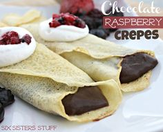 Fast Easy and Delicious Chocolate Raspberry Crepes from SixSistersStuff.com #recipe #crepe