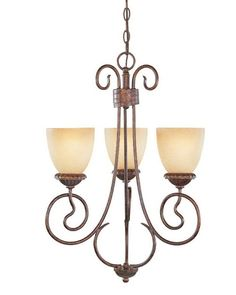 Designers Fountain Lighting 99383 AUB Belaire Collection Three Light Hanging Chandelier in Aged Umber Bronze Finish