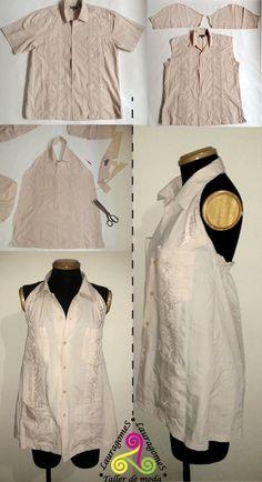 guayaberas transformadas #Recycled #customized #clothes vestido mujer #Lauragomes taller de moda