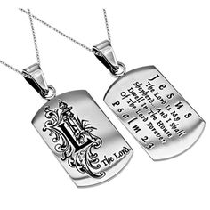 """Women's Monogram """"L"""" Christian Dog Tag, Psalm 23, Stainless Steel Chain"""
