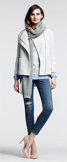 everyday casual; layers; boxy zip jacket; pullover over collared shirt; skinny ankle jeans; Adelia D'orsay pumps; perforated mesh wrap. Banana Republic