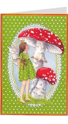 Fairy and mushrooms Christmas card from Germany