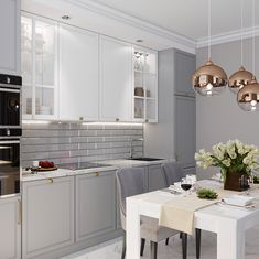 Image may contain: table and indoor Modern Kitchen Cabinets, Kitchen Cabinet Colors, Modern Kitchen Design, Interior Design Living Room, Living Room Designs, Home Decor Kitchen, Apartment Design, House Design, Indoor