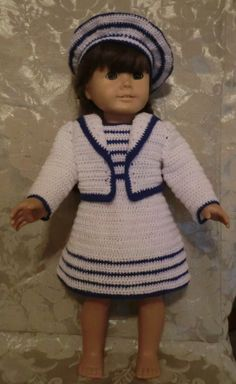 Crochet Pattern 194 Retro Sailor Set - for 18 inch dolls