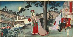 The emperor enjoying the cool evening (1887) - Toyohara Chikanobu