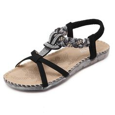 cca78b0744eda Women s Bohemian Platform Sandals Rhinestone Bead Wedge Shoes Thong Sandal  Ankle Wrap Sandals