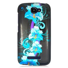 Alcatel OneTouch Fierce 2/7040T Glossy 2D Four BL Flowers 169 TPU/PC Phone Case #PH-PIACTL7040TG2D169