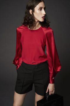 Zac Posen Resort 2017 | Red silk top + black shorts