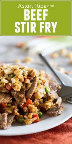 Asian Stir Fry Recipe - Rice and Beef Stir Fry - Taste and Tell Asian Rice and Beef Stir Fry ~ rice, beef, vegetables and a homemade stir fry sauce that combine to form a comforting dinner filled with flavor. Stir Fry Recipes, Rice Recipes, Vegetable Recipes, Asian Recipes, Beef Recipes, Cooking Recipes, Vegetable Dish, Beef Meals, Vegetable Drinks